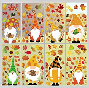 Joy Bang Fall Gnome Window Clings Fall Window Clings for Glass 8 Sheets Autumn Window Clings Gnome Autumn Tomte Window Decals for Thanksgiving Fall Home Party Decorations