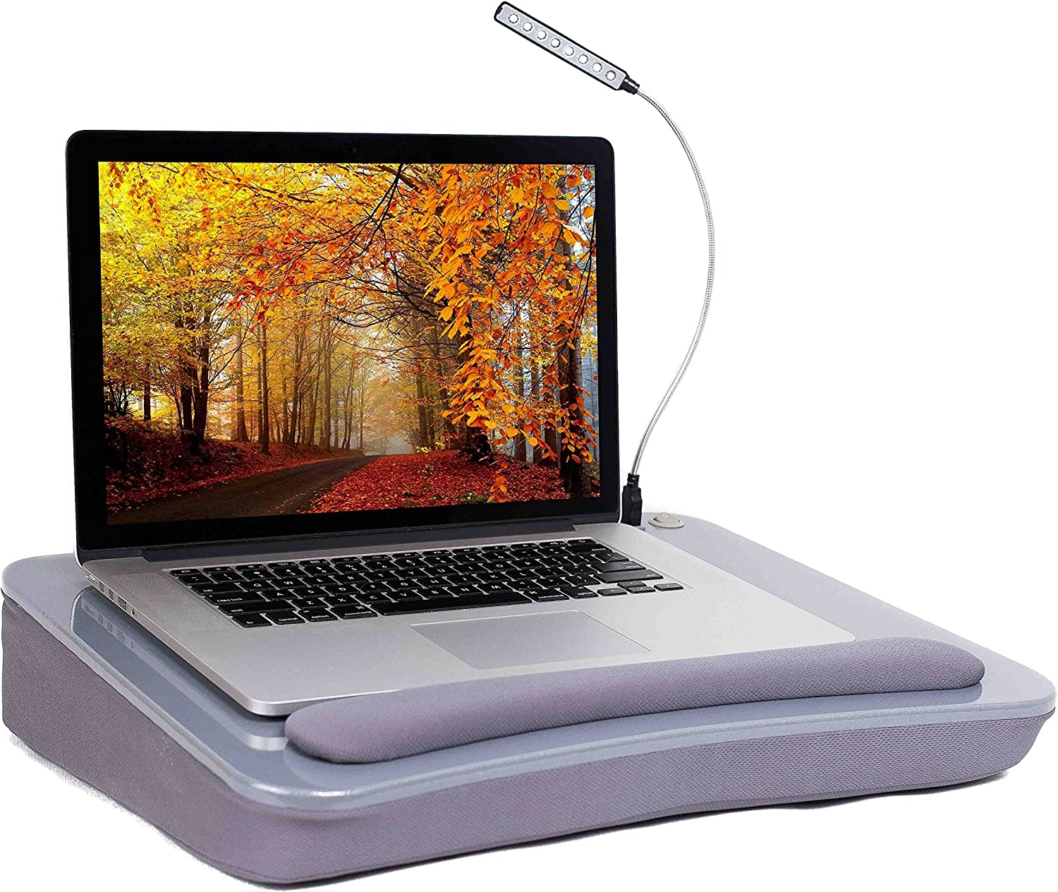 Sofia + Sam Lap Desk with USB Light (Silver) - Memory Foam Cushion - Supports Laptops Up to 17 Inches