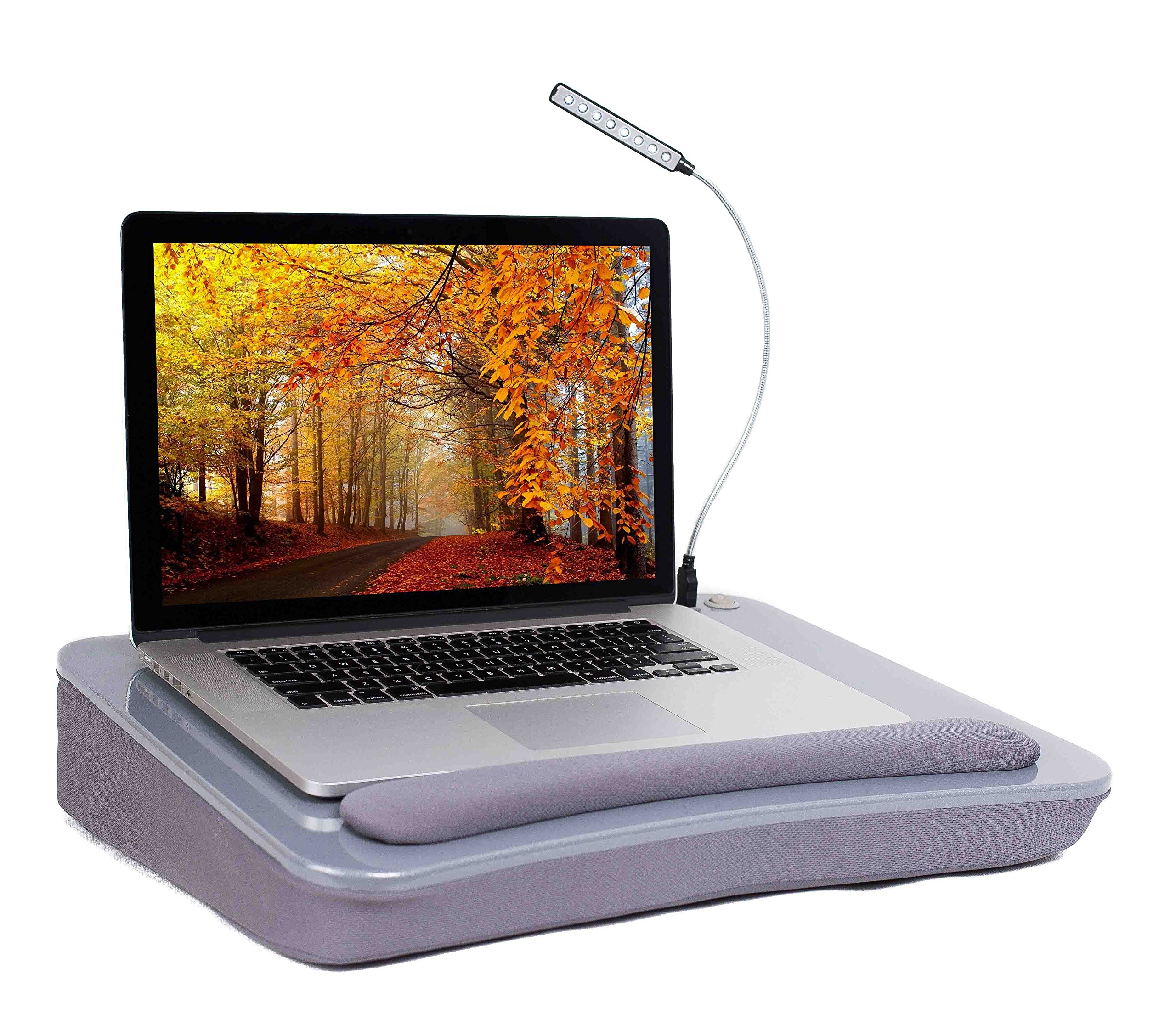 Sofia + Sam Lap Desk with USB Light (Silver)   Memory Foam Cushion   Supports Laptops Up To 17 Inches