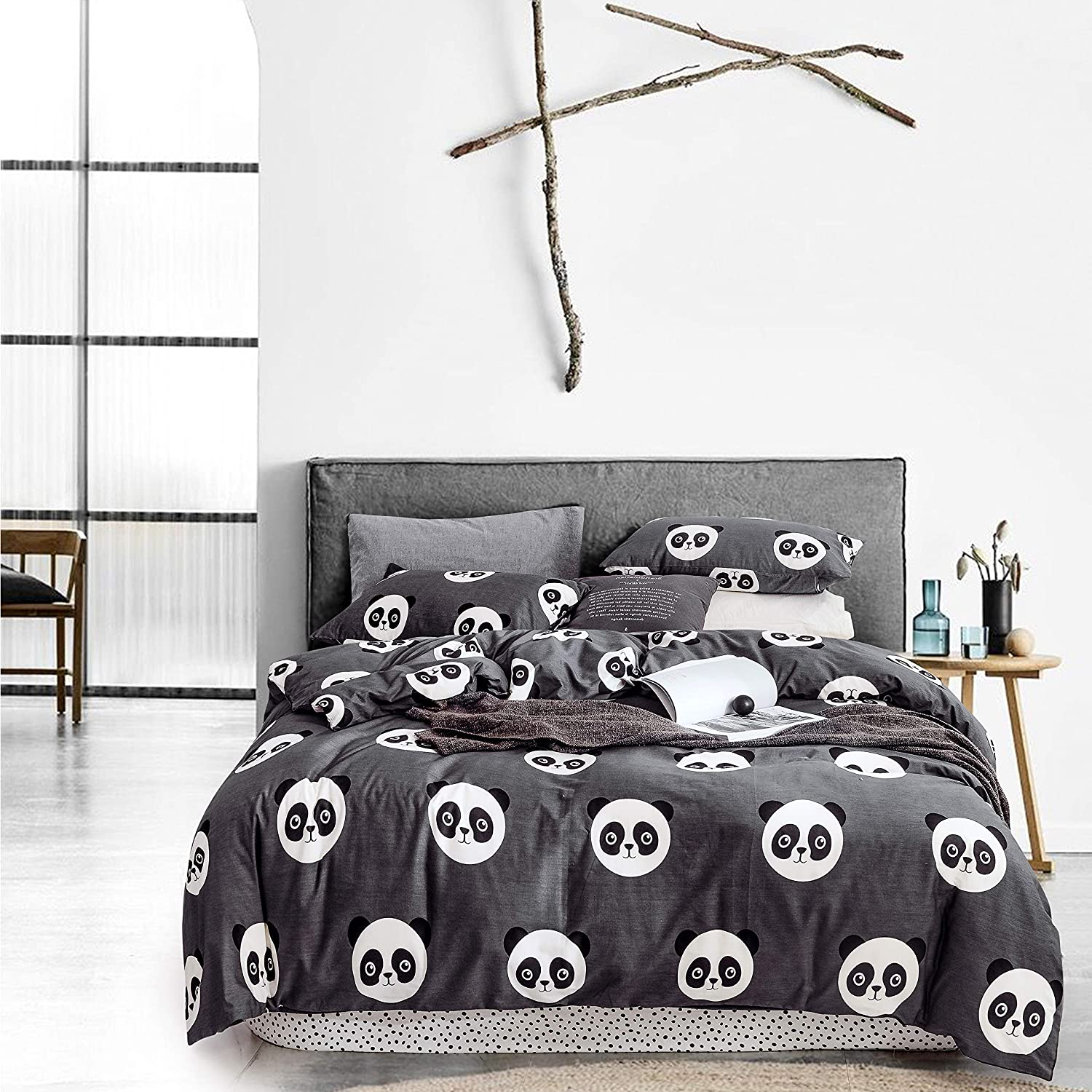Printed Pattern with Zipper Closure Soft Breathable Brown and White 3pcs Bedding Set Leopard Print Twin 1 Duvet Cover + 2 Pillow Shams Sleepymoon Cotton Duvet Cover Set