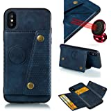 iPhone XS MAX 带卡夹和磁性车背和支架全身护套 Aplple iPhone 2018:-(蓝色,16.51 厘米)