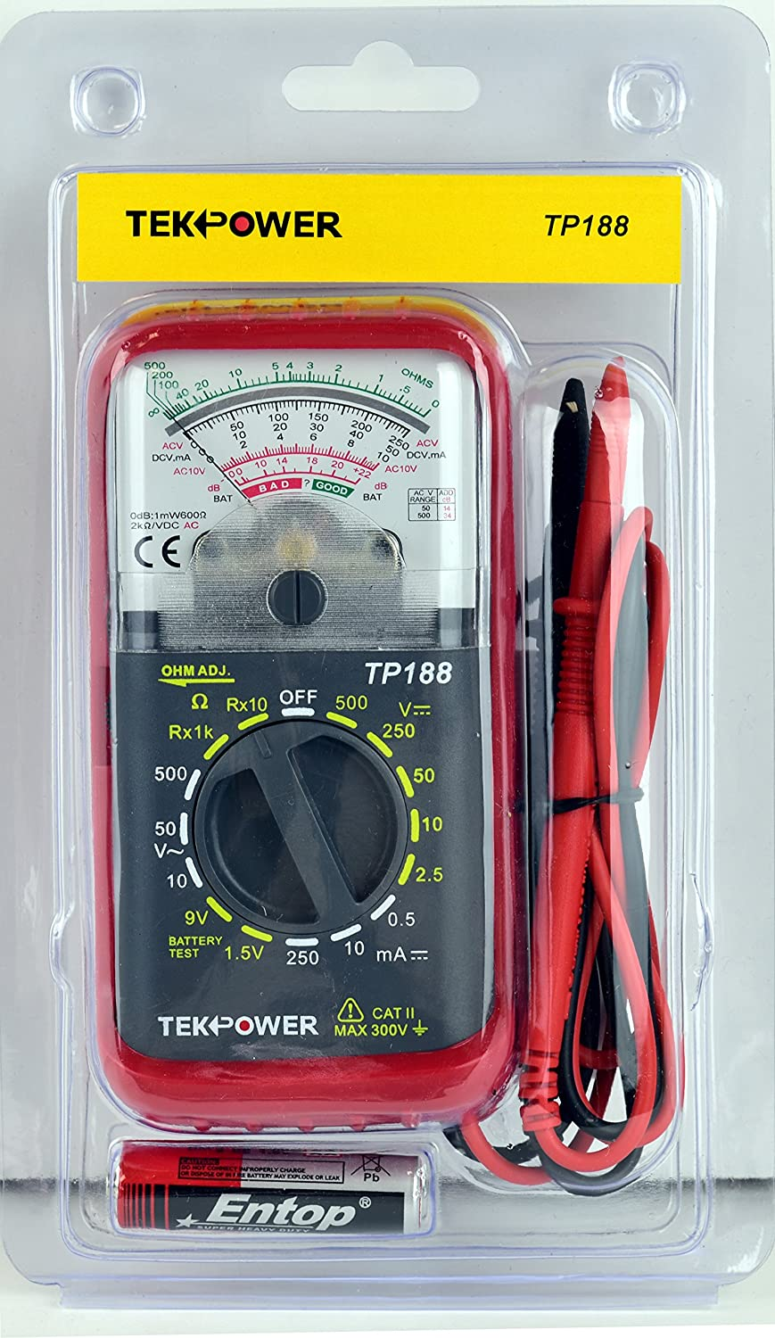 Tekpower TP188 Pocket-size Analog Multimeter with Built -in