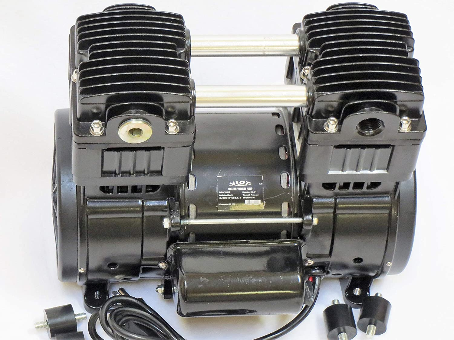 Oilless Oil-Free Vacuum Pump/Compressor Push/Pull:Twin Piston 1.2 HP 115 VAC 12CFM for Industrial/Workshop/Medic Science lab setups Applications High Efficiency Industry Size