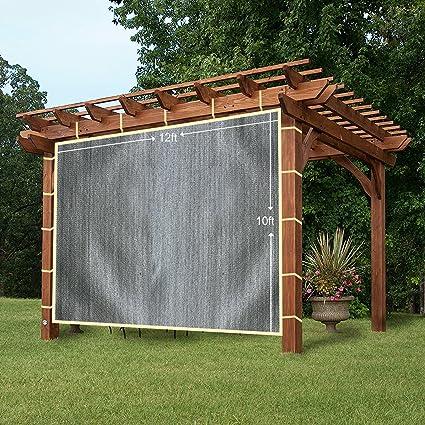 easy2hang Durable Parasol privacidad Panel con cuerda para pérgola, Side lámpara de pared para Instant toldo o Gazebo, tela, gris, 12x10