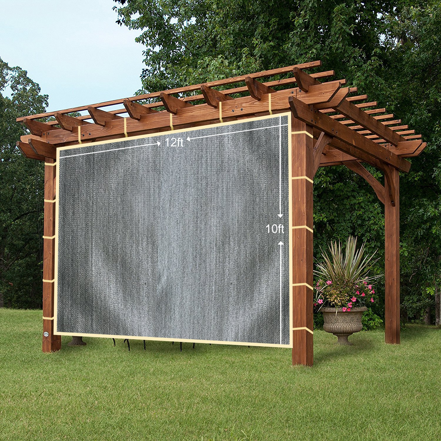 Easy2Hang Shatex Shade Panel Block 90% of UV Rays with Ready-tie up Ribbon for Pergola/Greenhouses/Carport/Porch 12x10ft Grey