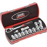Sam Outillage CP-16Z Coffret de cliquet avec douilles traversantes 16 outils