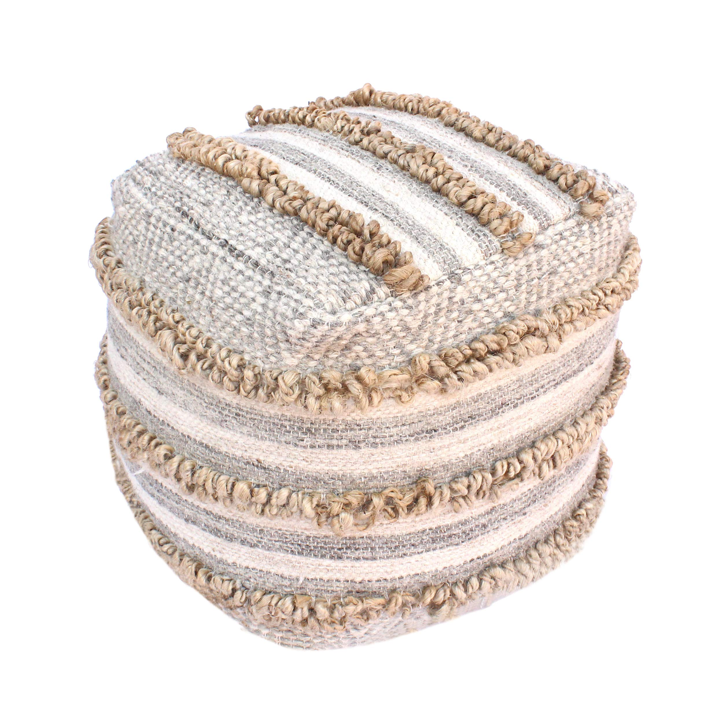 Great Deal Furniture Gladys Contemporary Hemp, Wool and Cotton Pouf Ottoman, Natural and Gray by Great Deal Furniture