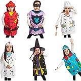 IQ Toys 6 Pieces Dress Up Costumes Fireman Gotham Cook Nurse Clown Witch
