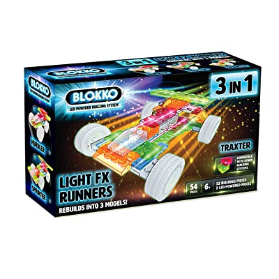Blokko LED Light Up Race Cars Kit. Instructions for 3 Different Racecars Included: Toys & Games