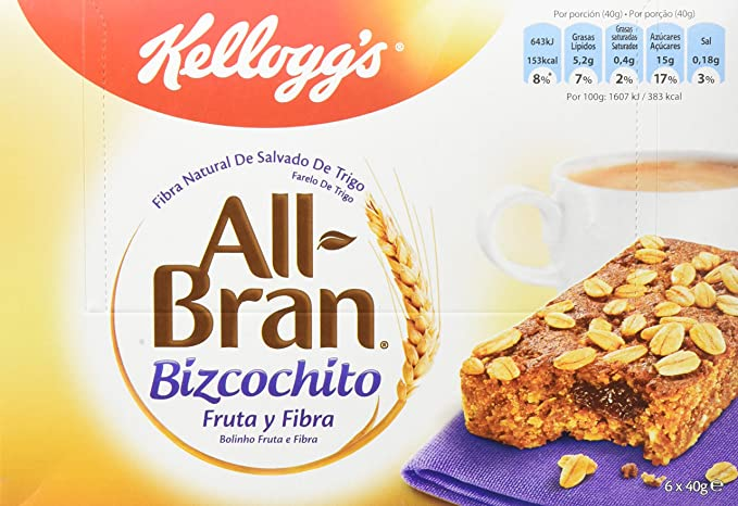 Kelloggs All Bran Bizcochito - Paquetes de 6 x 40 g - Total: 240 g: Amazon.es: Amazon Pantry
