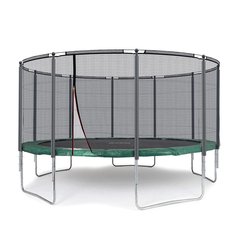 Ampel 24 Outdoor Trampolin 430 cm grün komplett mit außenliegendem Netz, Belastbarkeit 160 kg, Sicherheitsnetz mit Stabilitätsring und 10 gepolsterten Stangen