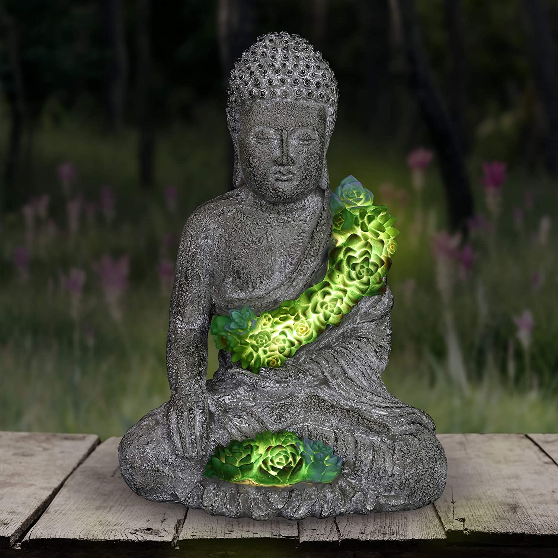 Exhart Solar Buddha Statue w/Beautiful Green LED Succulents | Outdoor Zen & Meditation Spiritual Garden Art|UV Treated, Weather Resistant Meditating Buddha Statue |10
