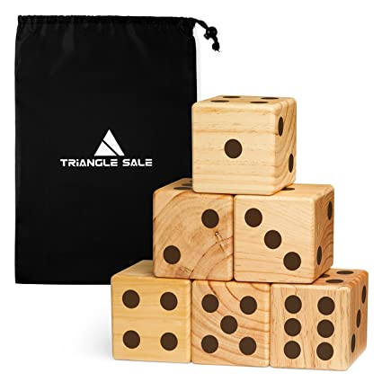 Jumbo Wooden Yard Dice Giant Outdoor Gaming Dice Set 35 With Luxurious Drawstring Bag Lightweight Extra Large Numbered Wood Dice For Picnic Bbq