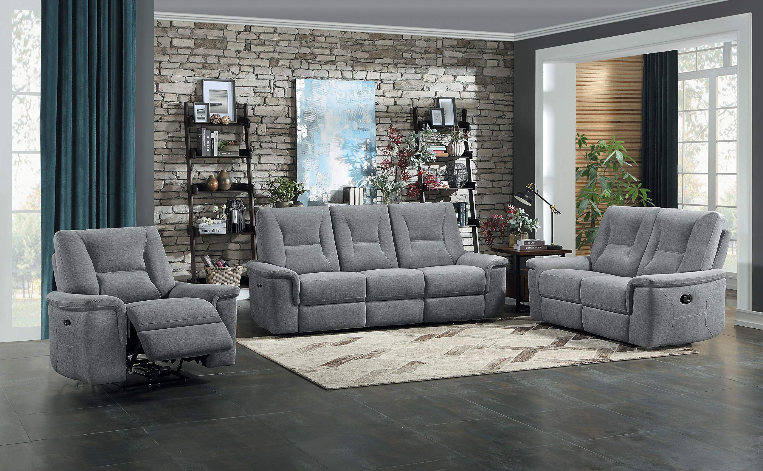 Homelegance 3-Piece Manual Reclining Sofa Set, Metal Gray by Homelegance