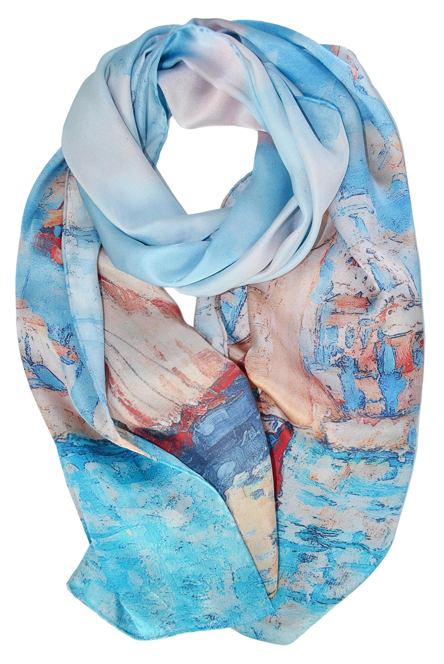 ELEGNA Women's 100% Silk Flower Painting Long Scarf Shawl (Sailing Boat)