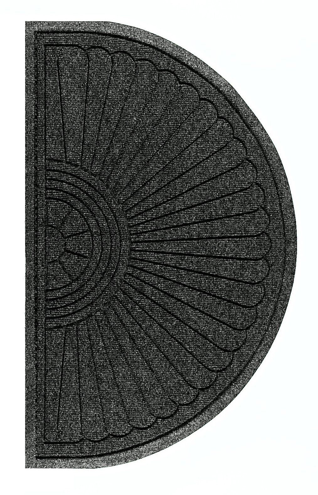 M+A Matting 2246 Waterhog Eco Grand Premier PET Polyester Fiber Half Oval Entrance Indoor/Outdoor Floor Mat, SBR Rubber Backing, 3.3' Length x 6' Width, 3/8'' Thick, Black Smoke