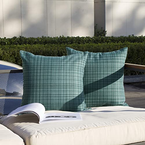 Kevin Textile Pack of 2 Decorative Outdoor Waterproof Throw Pillow Covers Stripe Square Pillowcases Modern Cushion Case