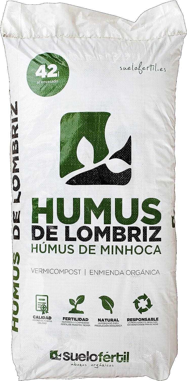 Suelo Fértil Humus de Lombriz 42l (25kg): Amazon.es: Jardín