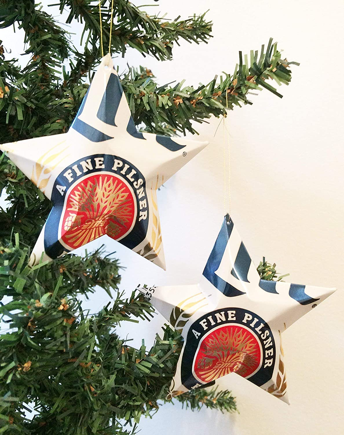 Michelob Ultra Pure Gold Shandy Star Ornament Christmas Chrismukkah Recycled Upcycled Beer Can craft Beer