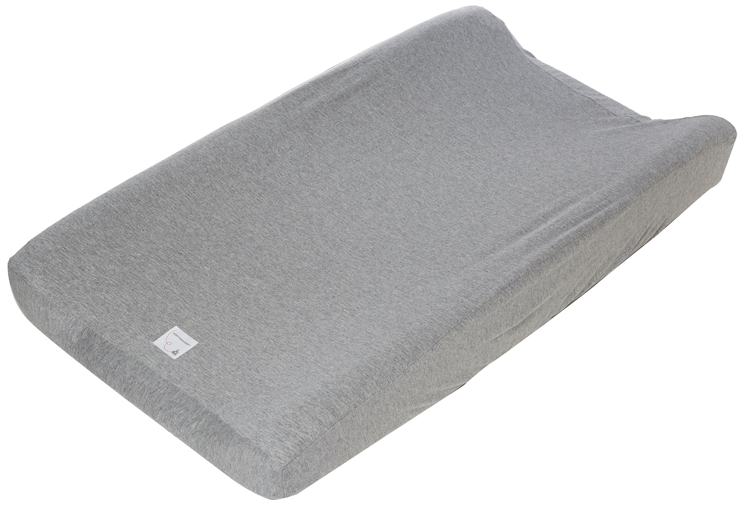 """Burt's Bees Baby - Solid Changing Pad Cover, 100% Organic Changing Pad for Standard 16"""" x 32"""" Changing Pad (Heather Grey)"""