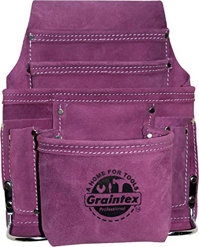 Graintex SS1123 10 Pocket Nail Tool Pouch Purple Color Suede Leather