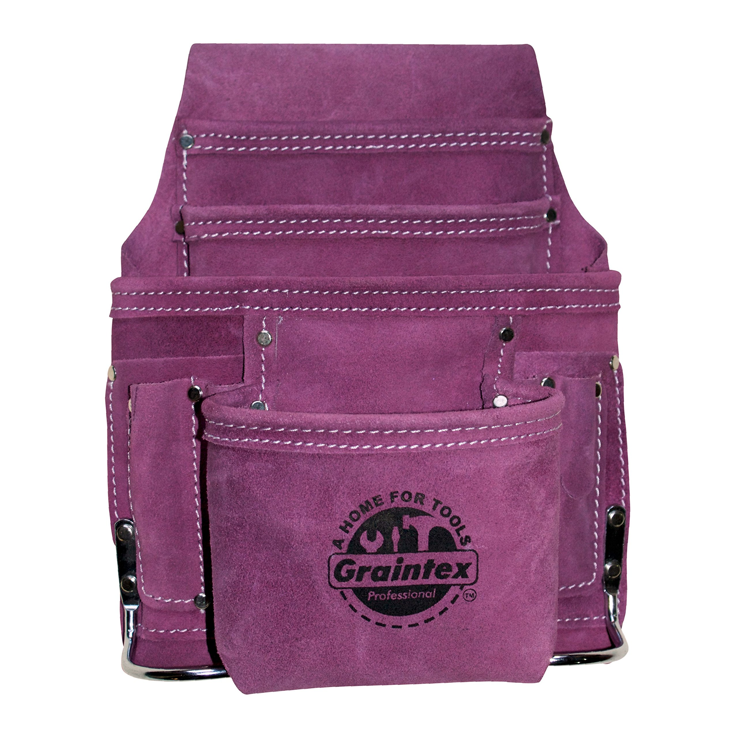 Graintex SS1123 Purple Leather 10 Pocket Tool Pouch