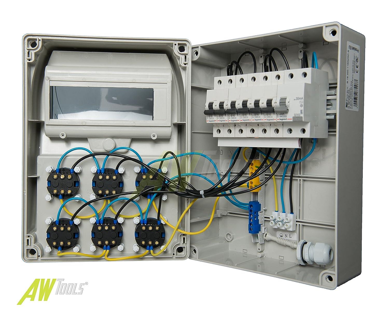 Baustromverteiler, Wandverteiler, Stromverteiler 6 x 230V/16A Schuko ...