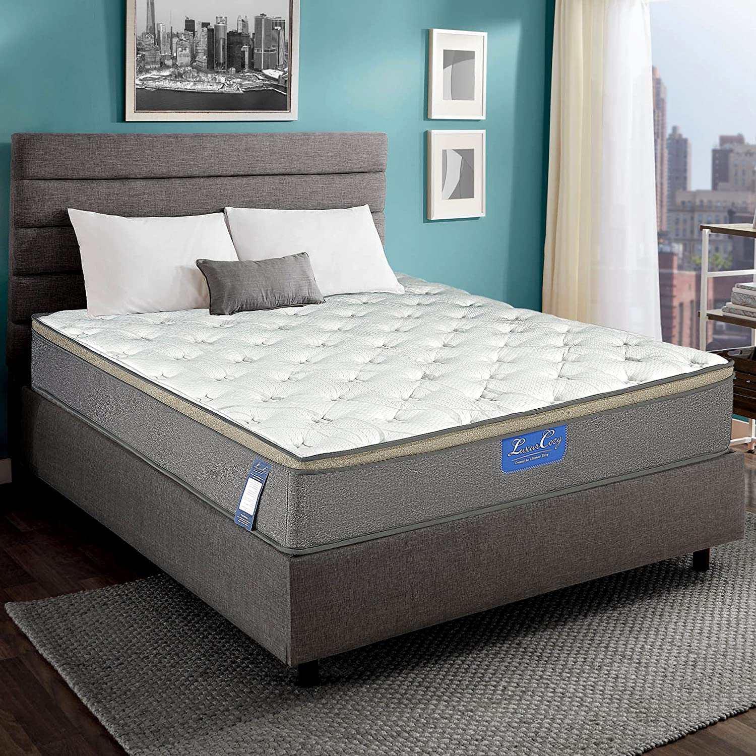 Luxury Innerspring Mattress – 12 Inch Euro Top Medium Soft Hybrid Gel Memory Foam 825 Sets Individual Wrapped Spring Ergonomic Structure Design 10 Years Warranty King