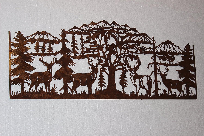 amazoncom deer and mountain scene with 4 majestic bucks large metal wall art country rustic decor home u0026 kitchen