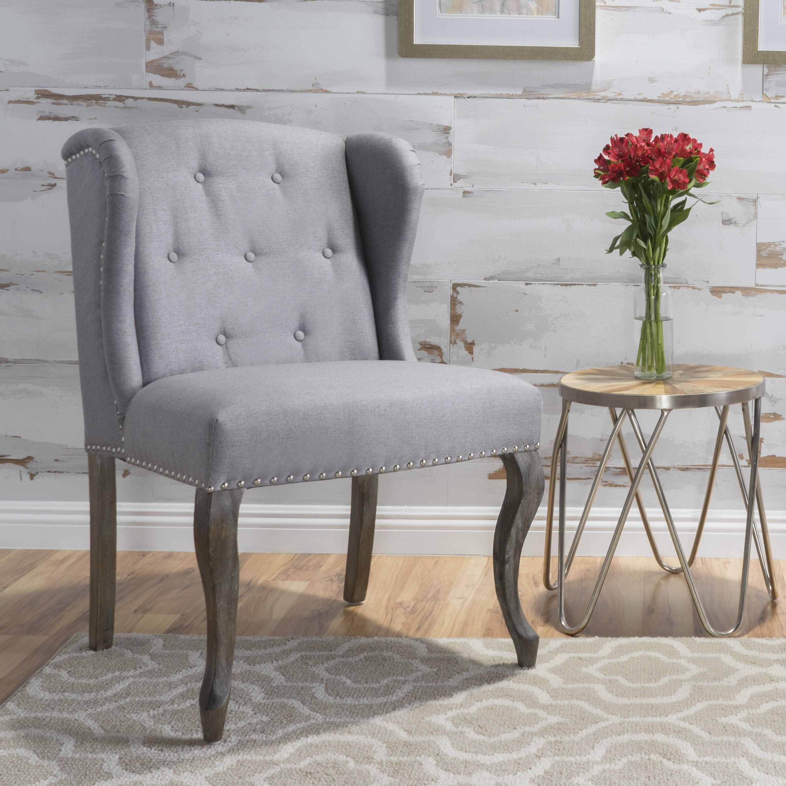 Christopher Knight Home 299858 Asheville Button Tufted Fabric Chair (Light Grey) by Christopher Knight Home