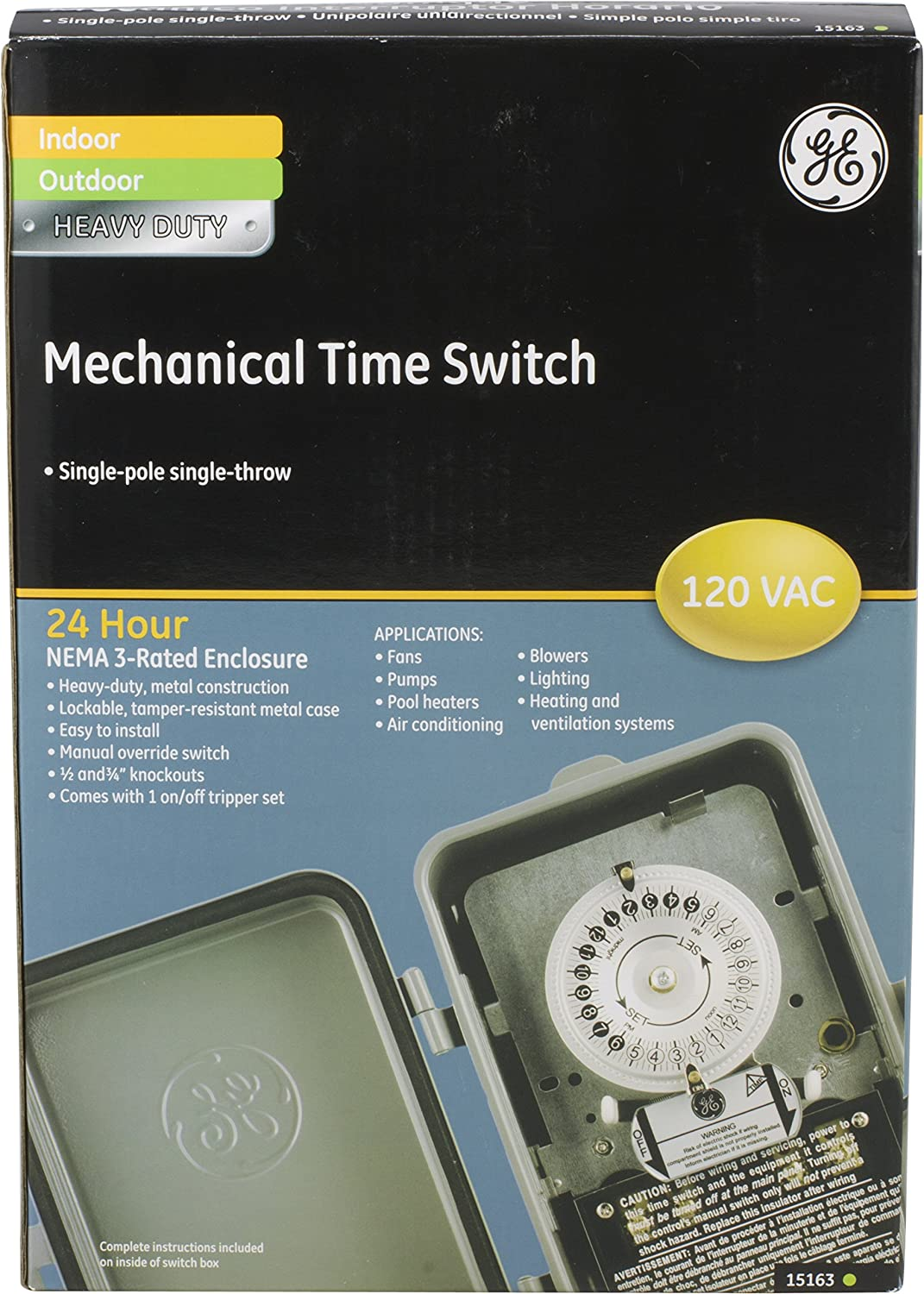 Ge 15163 24 Hour Indoor Outdoor Heavy Duty Mechanical Time Switch Spa Air Dpdt Wiring Diagram 120 Vac Electrical Timers