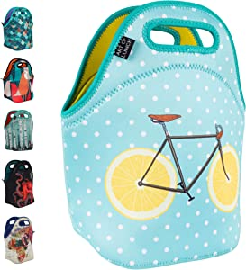 ART OF LUNCH Isulated Neoprene Lunch Bag for Women, Men and Kids, Reusable Soft Lunch Tote for Work and School - Design by Florent Bodart (France) - Zest