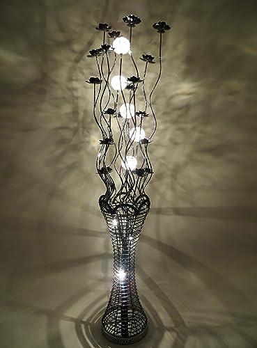 Elegance black woven wire and aluminium floor lamp with jewel elegance black woven wire and aluminium floor lamp with jewel crystal shades keyboard keysfo Gallery