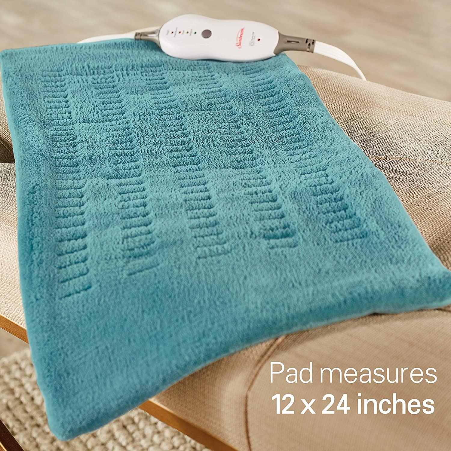 69795a391ce8d Sunbeam Heating Pad for Pain Relief | XL King Size SoftTouch, 4 Heat  Settings with Auto-Off | Teal,...