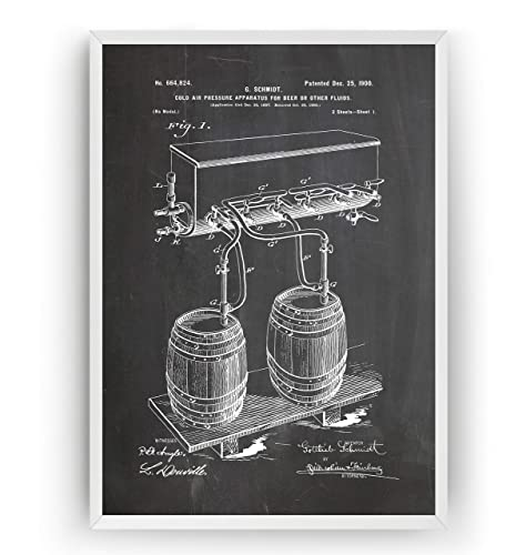Cold Air Pressure Apparatus For Beer Brewing Patent Print - Gift Bar Fathers Science Vintage Making