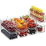 Juego de 8 cubos apilables de plástico para almacenamiento de alimentos – Organizador de refrigerador con asas para despensa,