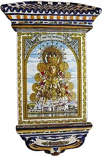 Virgen del Roc/ío Calca cer/ámica Cer/ámica para colgar Azulejo fabricado artesanalmente para decorar 7x15 cms