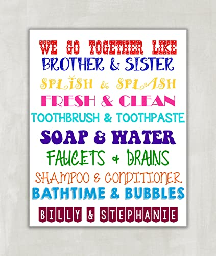 Amazon.com: Brother & Sister Bathroom Wall Art. Sibling Wall Art ...