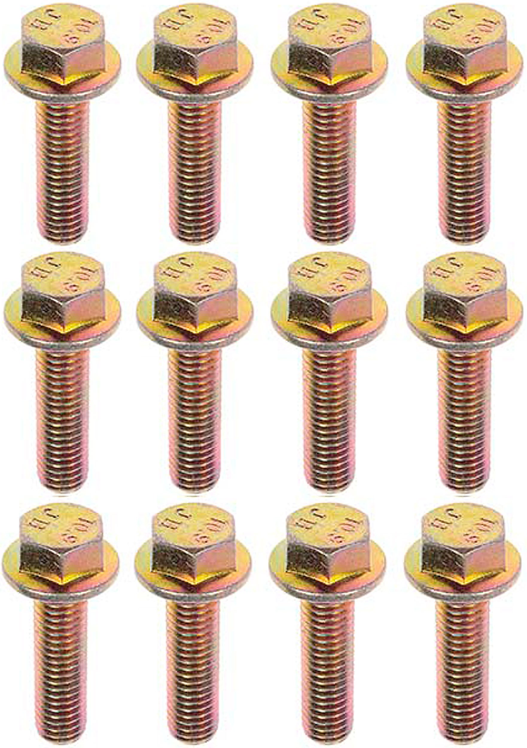 APDTY 103944 Exhaust Manifold Anti-Corrosion Flanged Bolt (Set of 12; M8-1.25; Grade 10.9) (Direct Fit For The Models Listed In Compatibility Chart)