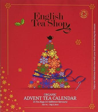 English Tea Shop Organic Book Style Red Advent Calendar 25 Pyramid