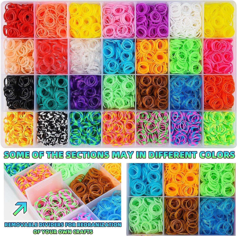 Demeu Loom Bands Enfant kit 500 Clips//150 Perles//100 Accessoires//40 Breloques 6000pcs Rainbow Bracelet Elastique Collier pour Bracelet Bagues Colliers DIY /à La Main avec Perles et Outils