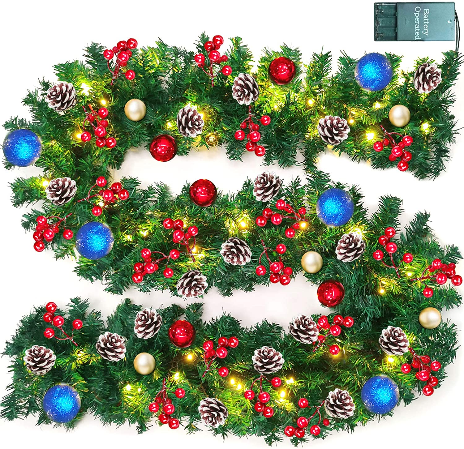 TURNMEON 9 FT Christmas Garland Decor with Lights Glitter Ball Ornaments, Battery Operated Xmas Garland Wreath with 280 Thick Branch 90 Red Berry Pine Cone,Indoor Outdoor Home Christmas Decor (Blue)