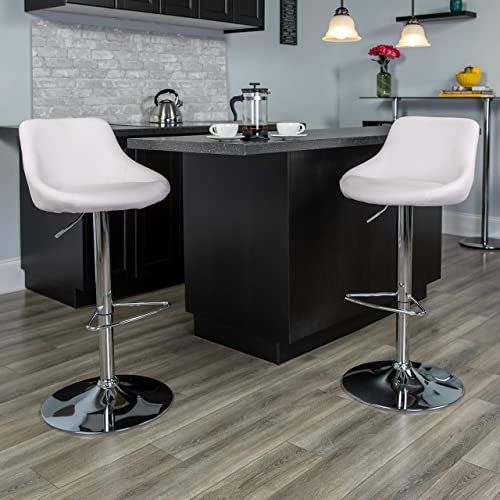Flash Furniture 2 Pk. Contemporary White Vinyl Bucket Seat Adjustable Height Barstool with Chrome Base