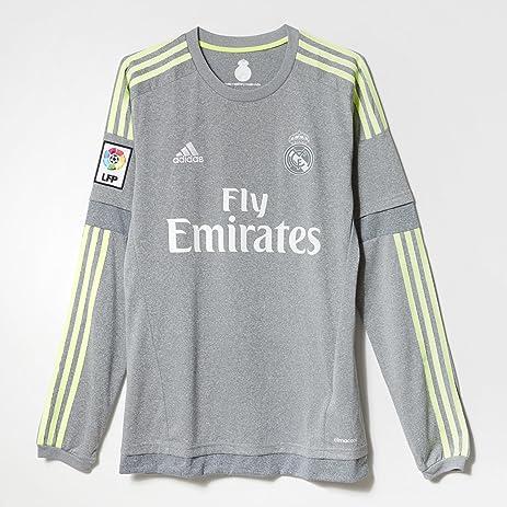 free shipping dbc63 a036e Adidas Real Madrid CF Away Long Sleeve Jersey-GREY