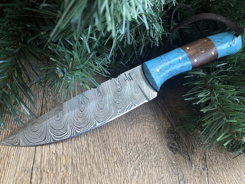 Cuchillo de Acero de Damasco Bushcraft Hecho a Mano de 9.5 Pulgadas Cuchillo de Caza Funda de Cuero Hoja Fija Hobby Hut HH-409 Mango de Madera y Turquesa Espiga Completa