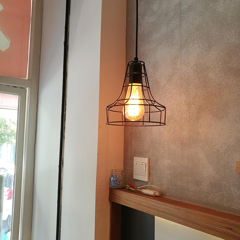 2 Pack E26 Vintage Metal Cage Pendant Lamps Lighting Chandelier Light