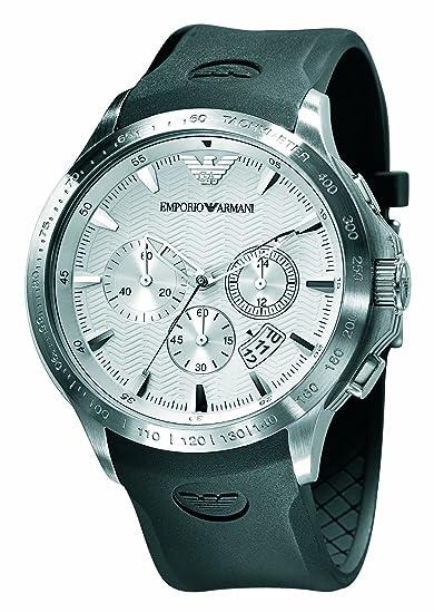 e3dafc77d442 Emporio Armani para hombre Sport cronógrafo negro correa de caucho reloj   Amazon.es  Relojes