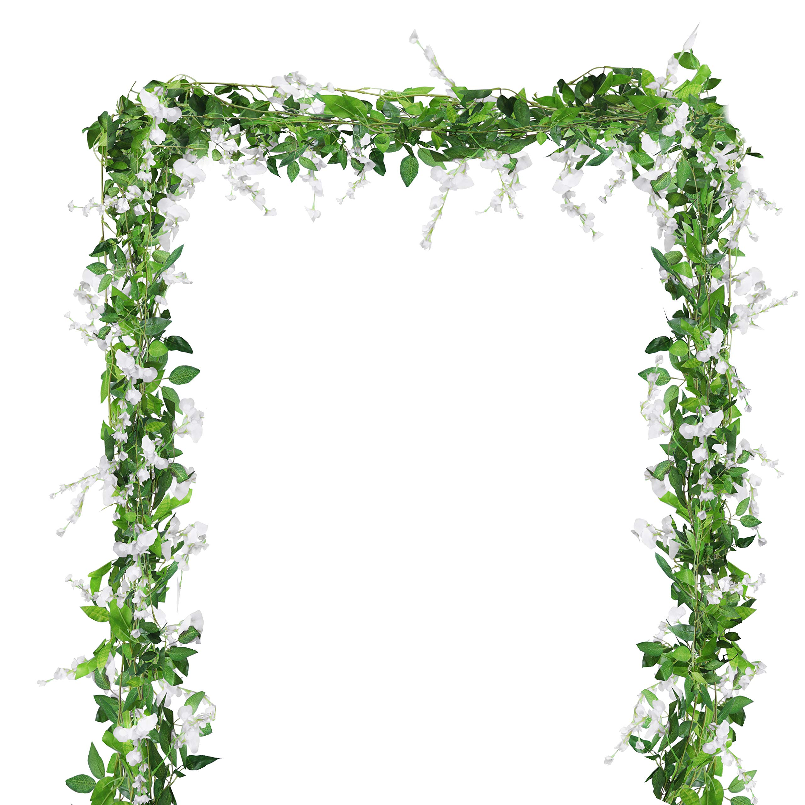 BELLE VOUS Wisteria Artificial Vine Garland (4 Pcs) - 2m (6.6ft per Piece) - White Fake Silk Removable Wisteria Flowers and Leaves for Garden, Wall Fence, Wedding Arch, Floral and Home Decorations