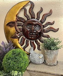 Rustic Farm Home Metal Half Celestial Moon Sun Garden Wall Decor