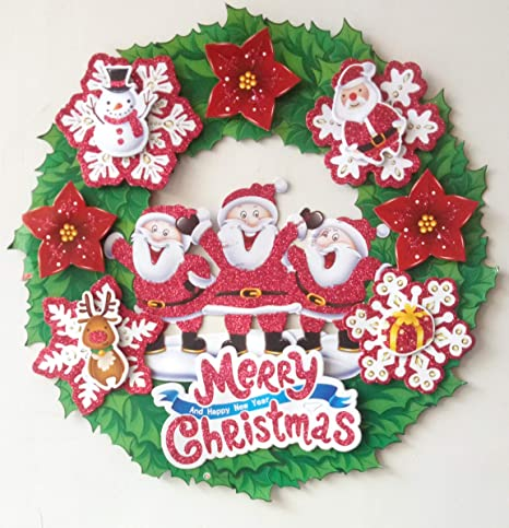 Paper Christmas Wreath Designs.Buy New 35 Cm Christmas Holiday Paper Wreath Door Ornament